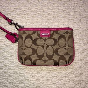 Coach Pink and Tan Wristlet/Wallet